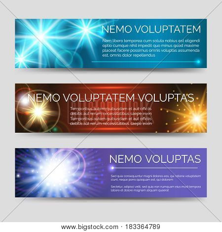 Abstract colorful banners with multicolor flashes of light. Vector illustration