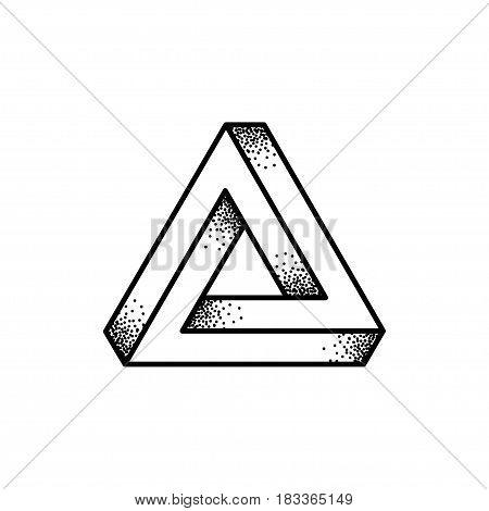 Optical illusion Penrose triangle logo design. Retro print illustration style black and white vector icon.