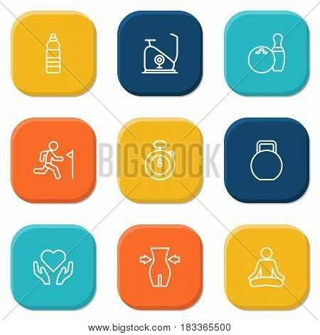 Set Of 9 Training Outline Icons Set.Collection Of Stopwatch, Yoga, Exercise Bike And Other Elements.