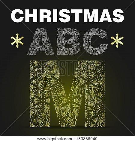 The alphabet letter M from gold snowflakes. Vector christmas abc on black background with yellow light