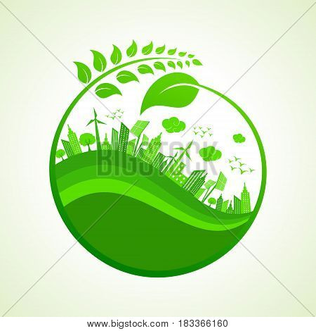 Save Nature Concept with Ecocity stock vector illustration