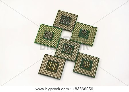 Six computer chip isolated on the white background. Modern technology.