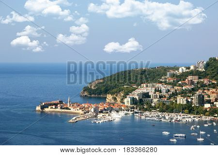 Budva, Montenegro, Balkans. Sea view. Adriatic sea. Riviera. Budva old town.