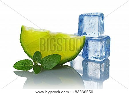 .blue Wet Ice Cube With Slice Of Lime And Mint