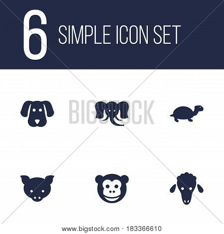 Set Of 6 Beast Icons Set.Collection Of Hound, Trunked Animal, Ape And Other Elements.