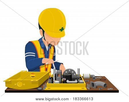 Worker is assembling the machine on transparent background