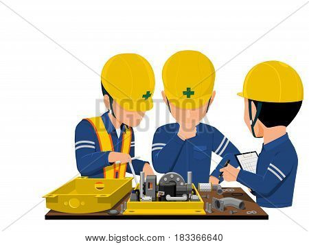 workers are analyzing problem about machine on transaparent background