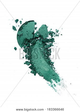 Smear Of Crushed Green Eyeshadow As Sample Of Cosmetic Product