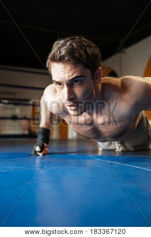 Vertical image of a boxer doing push ups in boxing ring