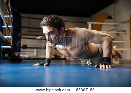 Side view of a strong boxer with naked torso doing push ups in boxing ring