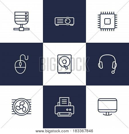 Set Of 9 Laptop Outline Icons Set.Collection Of Headphone, Computer Mouse, Cooler And Other Elements.