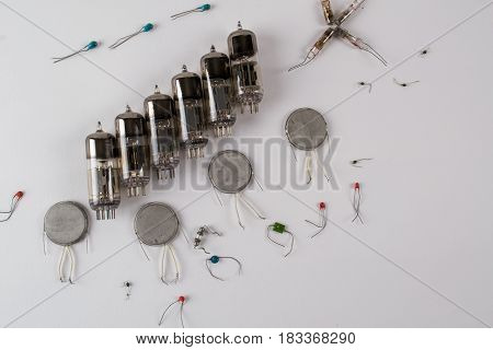 Abstract background  with old, vintage radio components