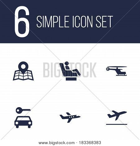 Set Of 6 Aircraft Icons Set.Collection Of Leaving, Aircraft, Chopper And Other Elements.