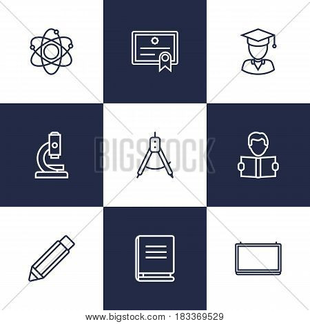 Set Of 9 Science Outline Icons Set.Collection Of School Board, Microscope, Compass And Other Elements.