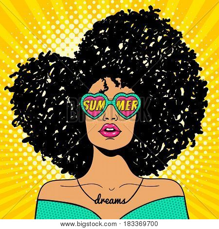 Wow pop art face. Sexy woman with black afro curly hair and open mouth and sunglasses in form of heart with inscription summer in reflection. Vector colorful background in pop art retro comic style.