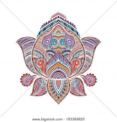 stylized vector multicolored ornamental Lotus flower, ethnic art, patterned Indian paisley. Hand drawn illustration. Invitation element