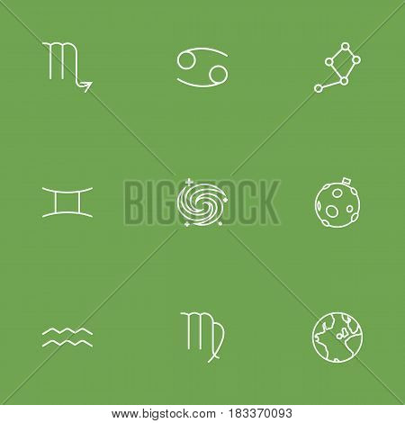 Set Of 9 Astrology Outline Icons Set.Collection Of Moon, Cancer, Virgo And Other Elements.
