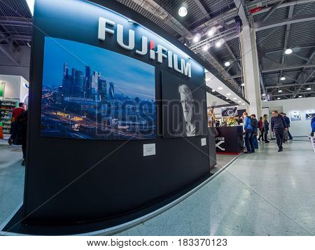MOSCOW, RUSSIA - APRIL 21, 2017: Booth of Fujifilm company at PhotoForum 2017 trade show and exhibition in Moscow, Russia on April 21, 2017.