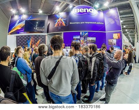 MOSCOW RUSSIA - APRIL 21 2017: Booth of BenQ company at PhotoForum 2017 trade show and exhibition in Moscow Russia on April 21 2017.