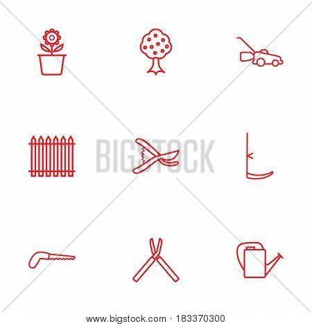 Set Of 9 Household Outline Icons Set.Collection Of Scythe, Plant Pot, Secateurs And Other Elements.