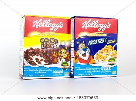 Bangkok Thailand - April 22 2017: 2 boxes of Kellogg's breakfast cereal isolated on white.