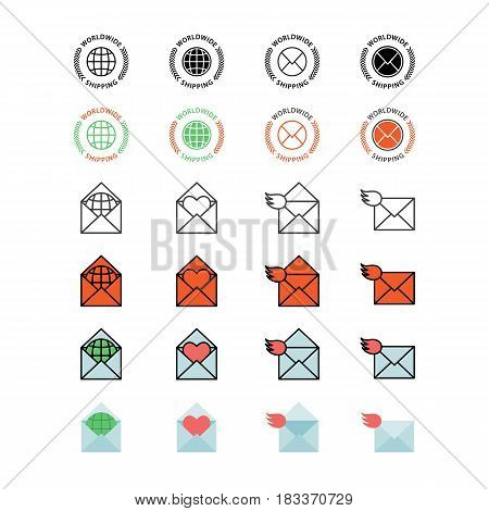 Mail service color and linear vector icon set.