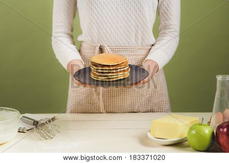 Pancakes. Breakfast. Snacks. Breakfast For The Whole Family . With Copy Space.