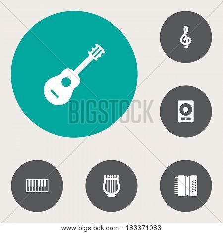 Set Of 6 Music Icons Set.Collection Of Acoustic, Octave Keyboard, Lyre And Other Elements.