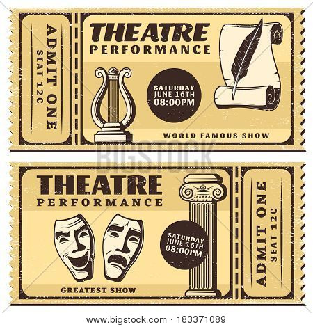 Vintage theatre performance horizontal advertising tickets with masquerade masks paper scroll feather harp and column vector illustration