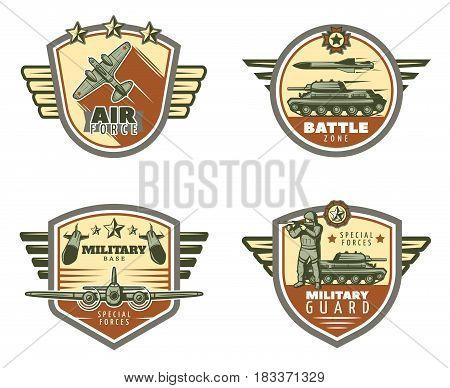 Colored vintage military emblems set with air and ground force rockets missiles soldier isolated vector illustration