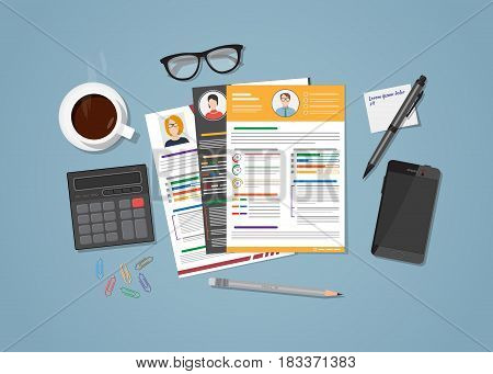 Flat realistic manager workplace for recruiting concept. Office objects resume with candidate photo with various design. Coffee cup and mobile phone with glasses. Workspace calculation.