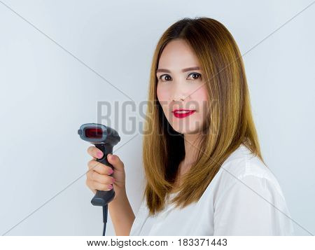 Asian Women Use Bar Code Scanner, On White Background.