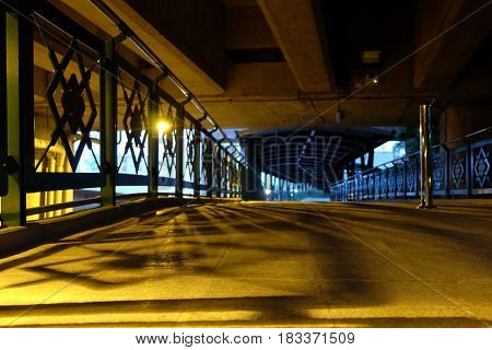 Night Scenery of Overpass with Spotlight Background.