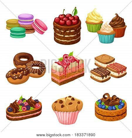 Cartoon sweet products elements set with cakes pies cupcakes muffin pudding macarons and donuts isolated vector illustration