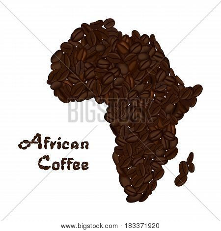 Africa continent made of coffee beans. African coffee lettering. Vector illustration isolated on white. Concept for selling coffee and decorate coffee shop.