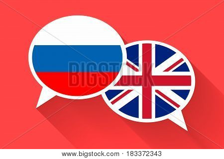 Two white speech bubbles with Russia and Great britain flags. English language conceptual illustration