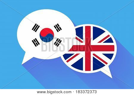 Two white speech bubbles with South Korea and Great britain flags. English language conceptual illustration