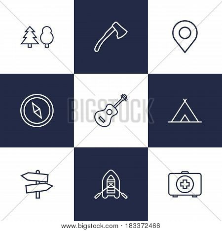 Set Of 9 Adventure Outline Icons Set.Collection Of Ax, Guitar, Place Pointer And Other Elements.