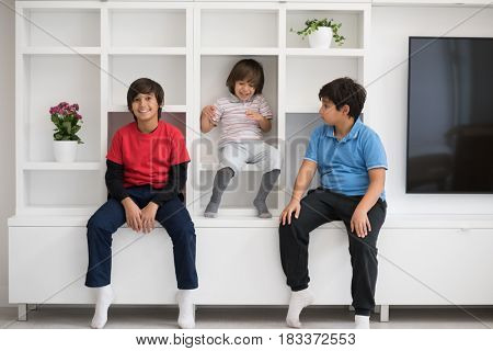 happy young boys are having fun while posing on a shelf in a new modern home