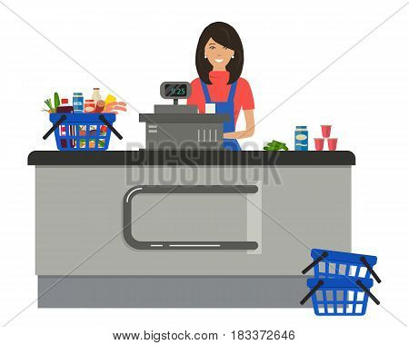 Web banner of a supermarket cashier. The young woman is standing near the cash register. There is also a shopping cart with products in the picture. Vector flat illustration.