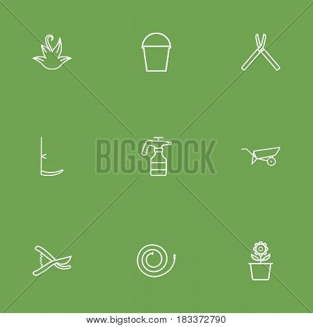 Set Of 9 Farm Outline Icons Set.Collection Of Atomizer, Herb, Barrow And Other Elements.