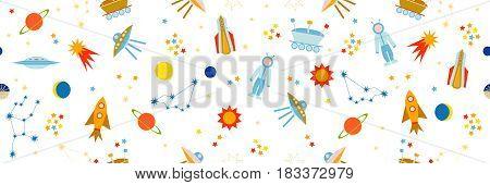 Astronauts, stars, space ships, sun, moon, planets.