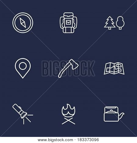Set Of 9 Camping Outline Icons Set.Collection Of Baggage, Pocket Torch, Bonfire And Other Elements.