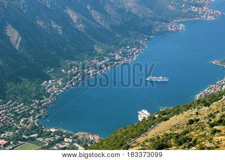 Kotor view. Kotor bay, Montenegro. Adriatic sea. Sea view. Mountains view