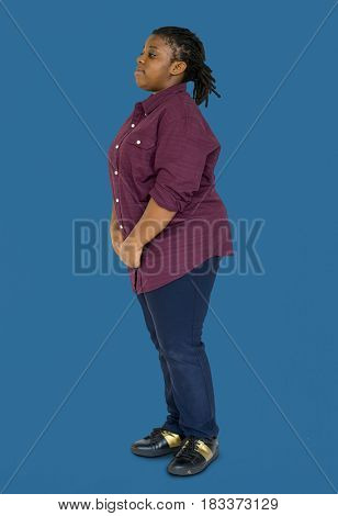 Young Adult Woman Side Stand Studio Portrait
