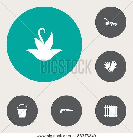 Set Of 6 Household Icons Set.Collection Of Bucket, Hacksaw, Fence And Other Elements.