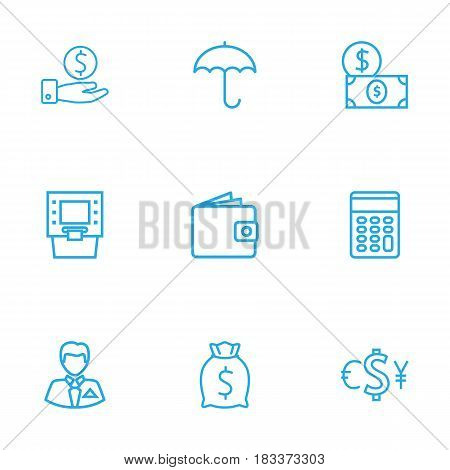 Set Of 9 Finance Outline Icons Set.Collection Of Exchange, Savings, Moneybag And Other Elements.