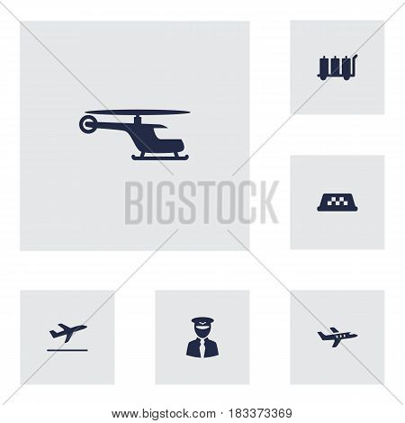 Set Of 6 Airplane Icons Set.Collection Of Cab, Aviator, Leaving And Other Elements.