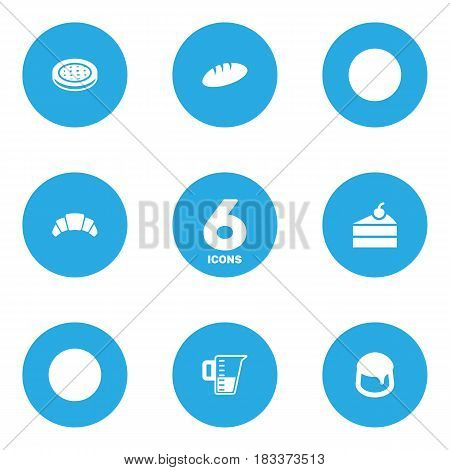 Set Of 6 Oven Icons Set.Collection Of Cake, Sweetmeat, Loaf And Other Elements.