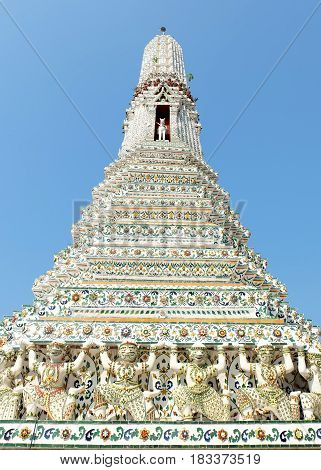 Ancient Stupa at Wat Arun Bangkok Thailand.